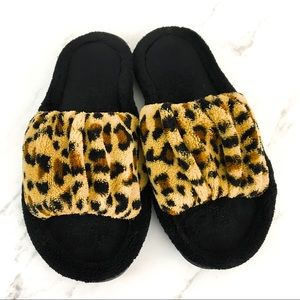 Furry ruched leopard slides slippers house shoes